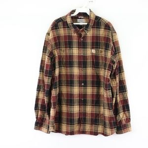 Vtg Carhartt Mens Large Plaid Flannel Shirt Brown